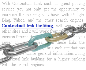 Contextual LinkBuilding Using Contextual Link Building for a Higher Ranking with the Search Engines
