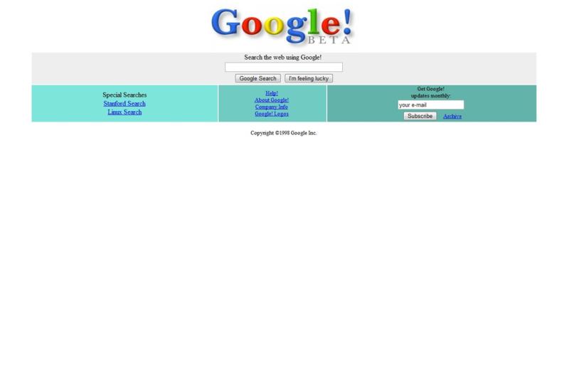 Google's homepage 1998–1999